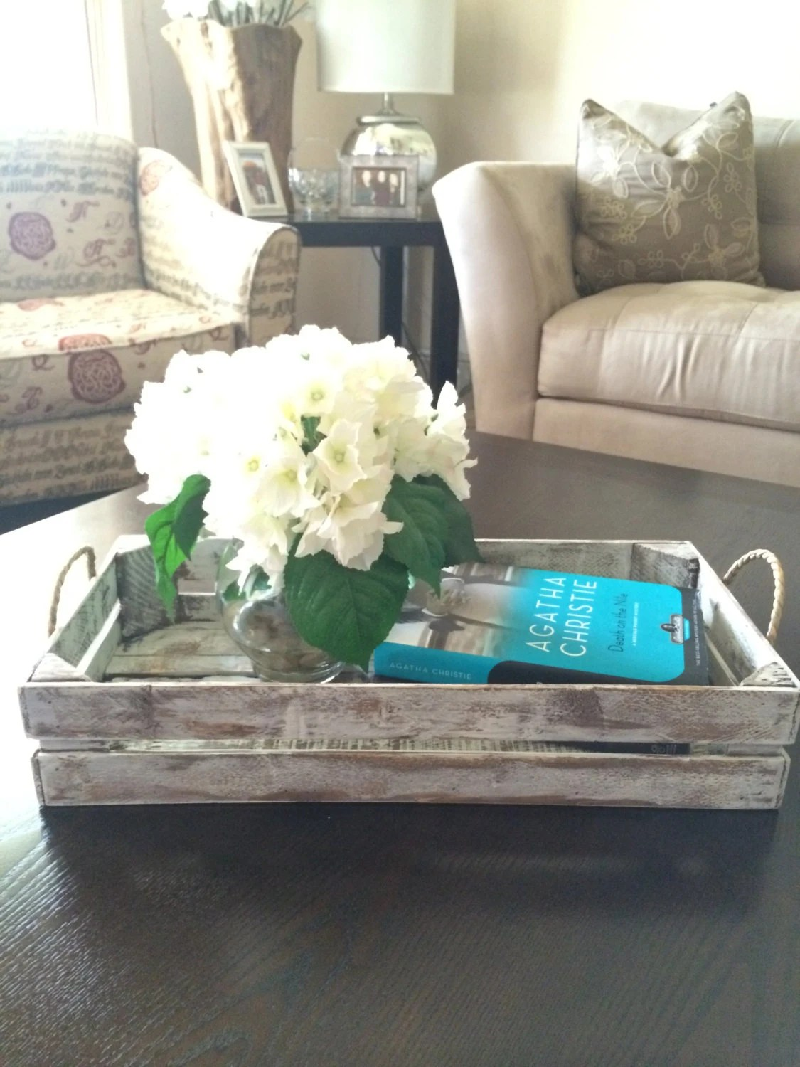 Best Distressed White Decorative Tray Rustic Tray By Purehomeworks This Month