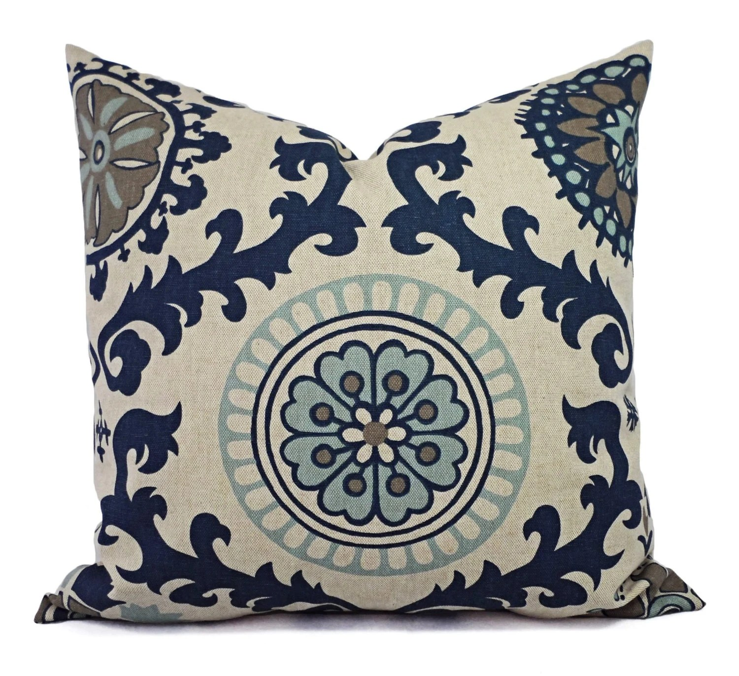 Best Two Blue Decorative Pillow Covers Navy Blue Floral Pillow This Month