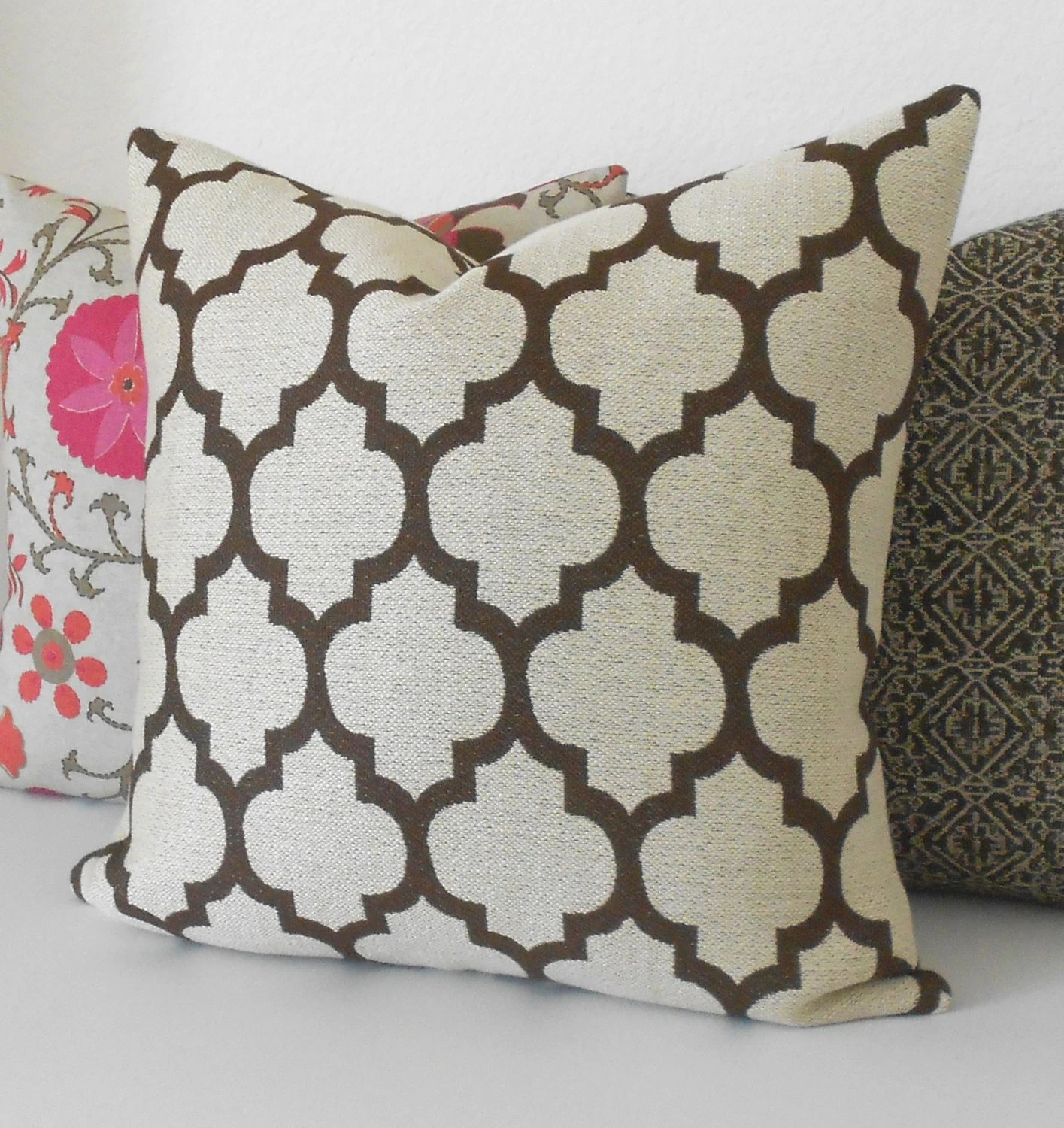 Best Brown And Beige Moroccan Quatrefoil Decorative Throw Pillow This Month