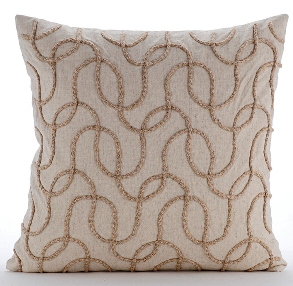 Best Natural Beige Throw Pillow Covers 20X20 Embroidered Linen This Month