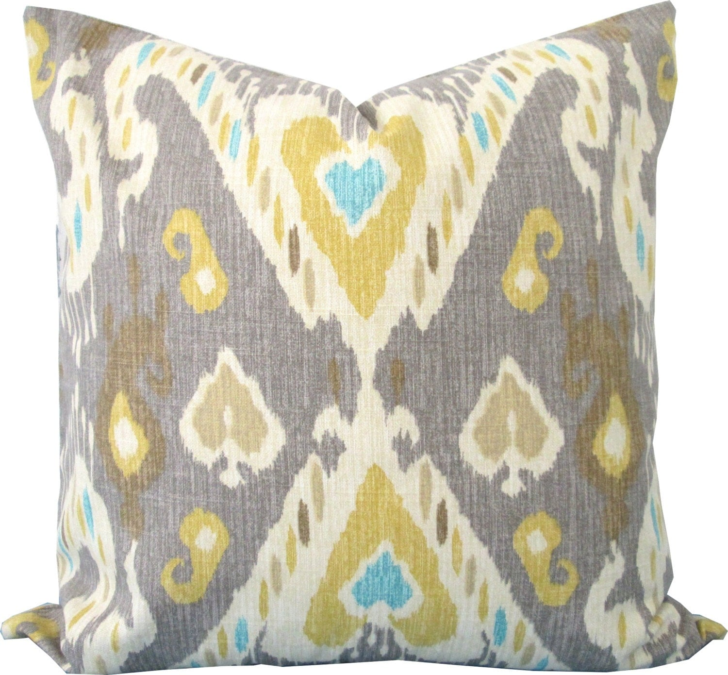 Best Yellow And Gray Ikat Decorative Pillow Cover Accent Pillow This Month