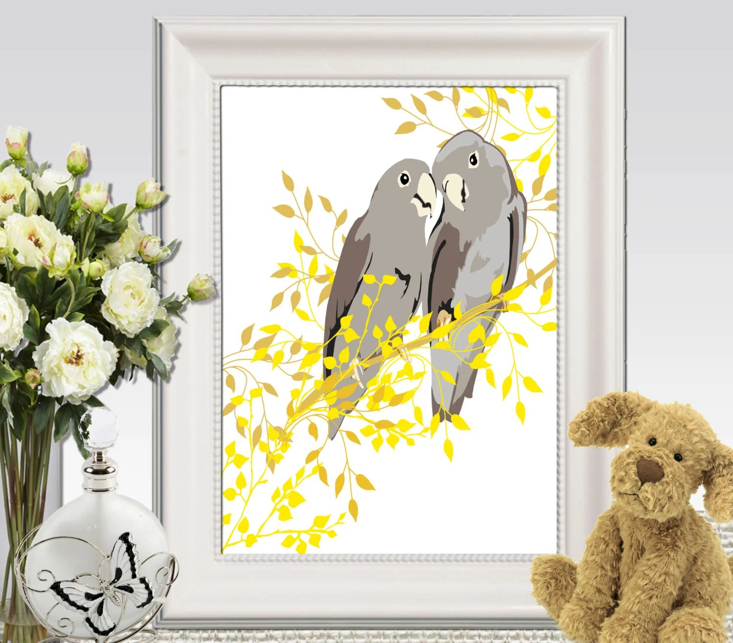 Best Birds Wall Art Printable Cockatoo Print Yellow Gray Home Decor This Month