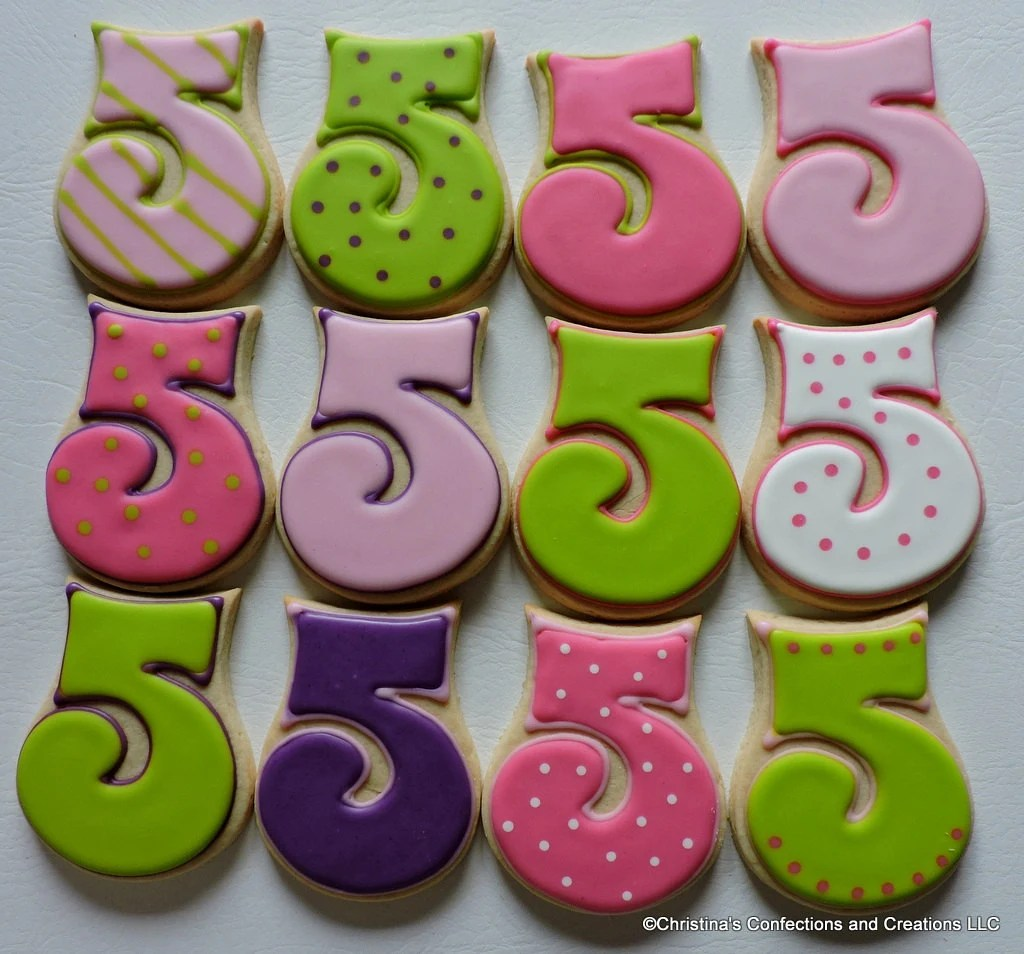 Best Number 5 Hand Decorated Sugar Cookies For Birthdays 2455 This Month
