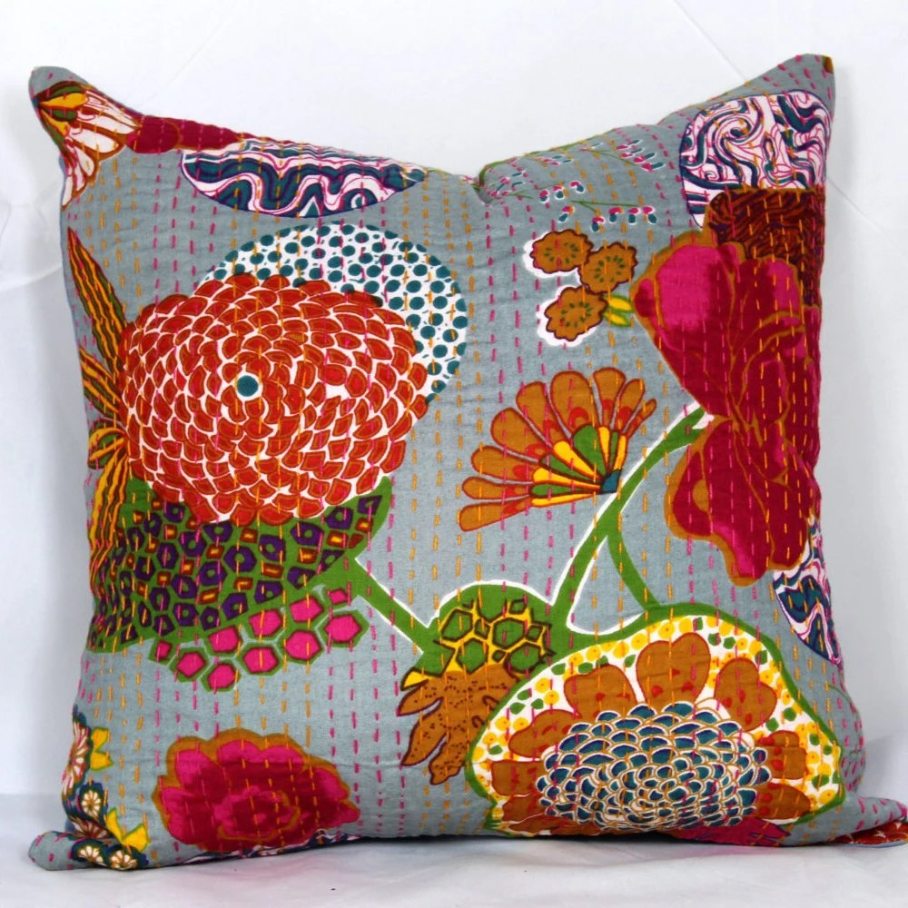 Best Indian Quilted 20X20 Pillow Cover 24X24 Kantha Pillow Cover This Month