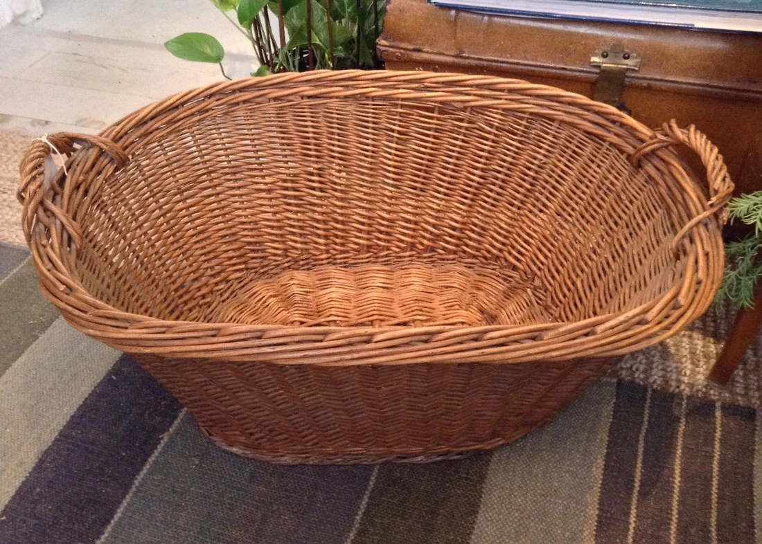 Best Old Oval French Laundry Or Decorative Woven Wicker Basket This Month