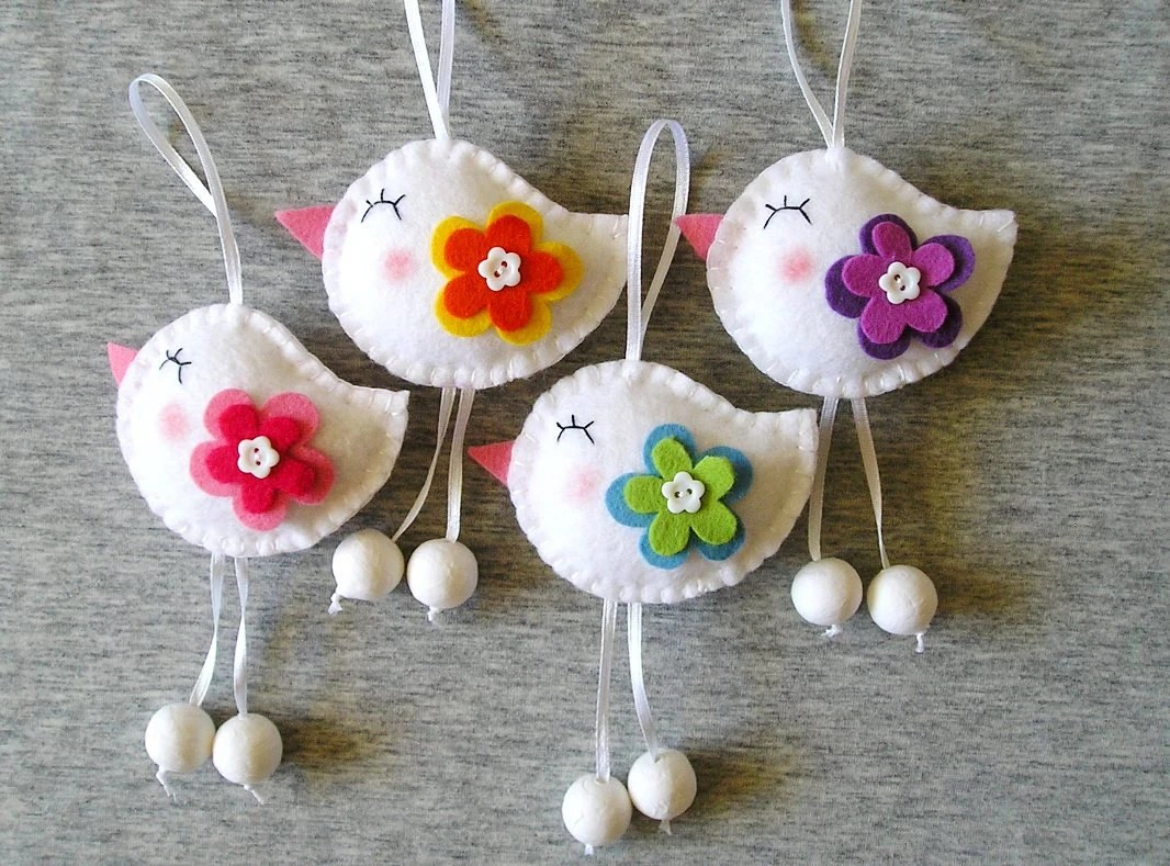 Best Spring Birds Felt Ornaments Cute Home Decor Funny Flowers This Month
