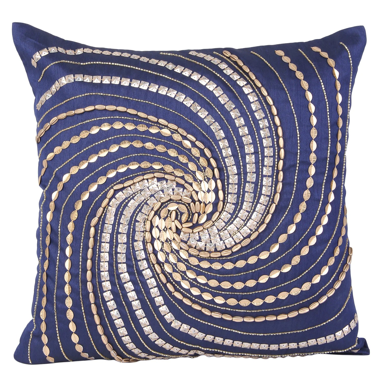 Best Blue Gold Decorative Pillow Cover Blue Gold Beaded Accent This Month
