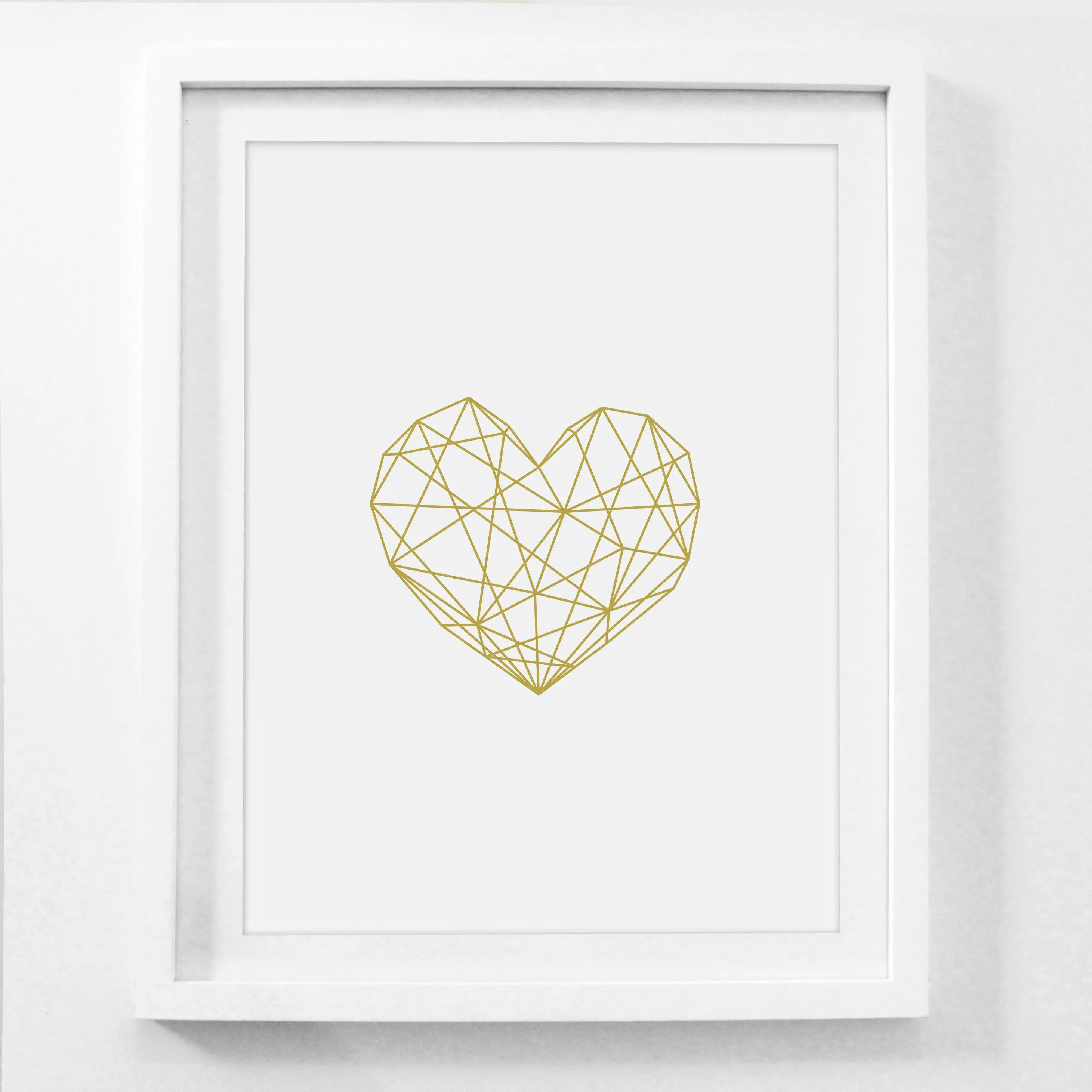 Best Glam Decor Geometric Poster Gold Heart Art Glam Wall Art This Month