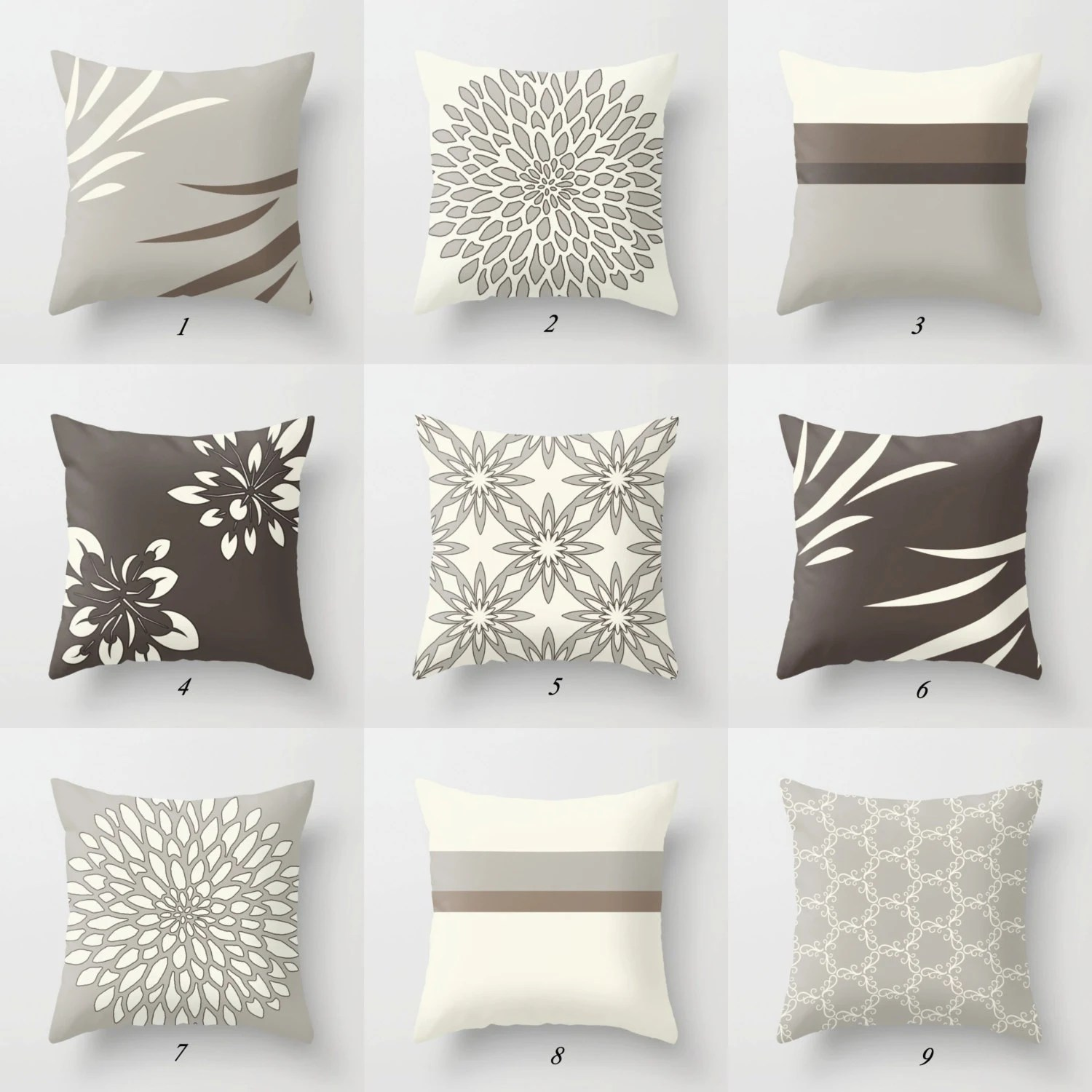 Best Decorative Pillows Brown Beige Gray Throw Pillows Brown Etsy This Month