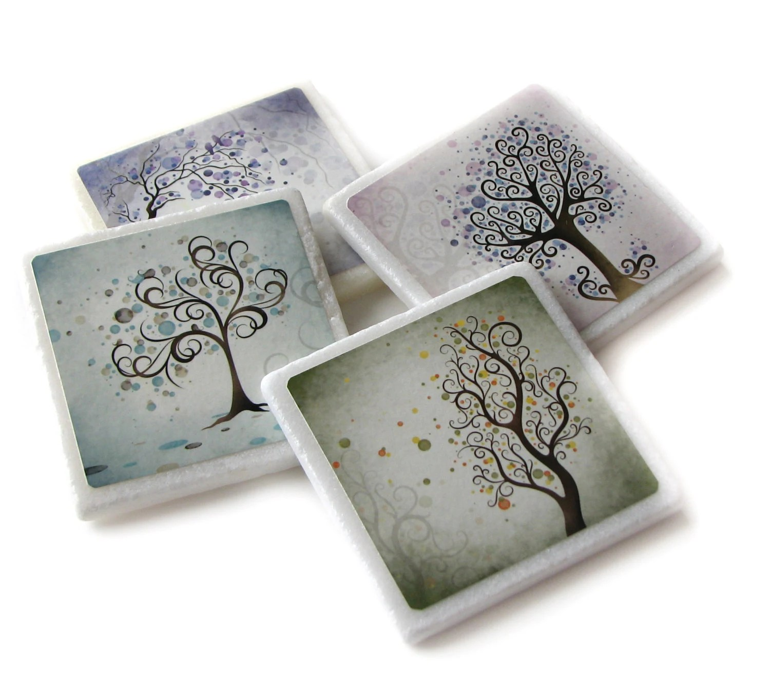 Best Whimsical Tree Art Decorative Coasters Set Of 4 Blue Pink This Month