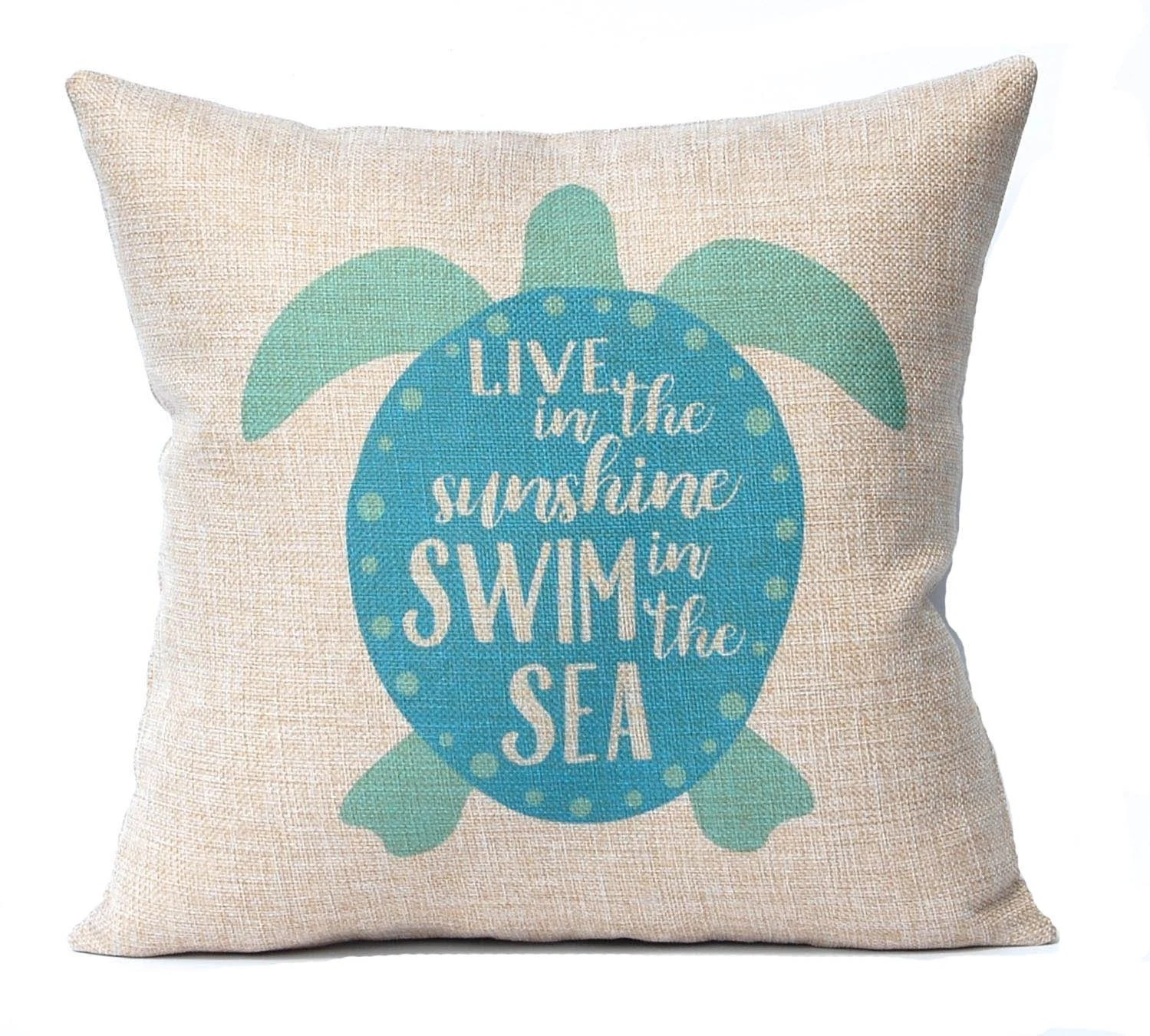 Best Sea Turtle Pillow Cover Beach Decor Turquoise Faux Etsy This Month