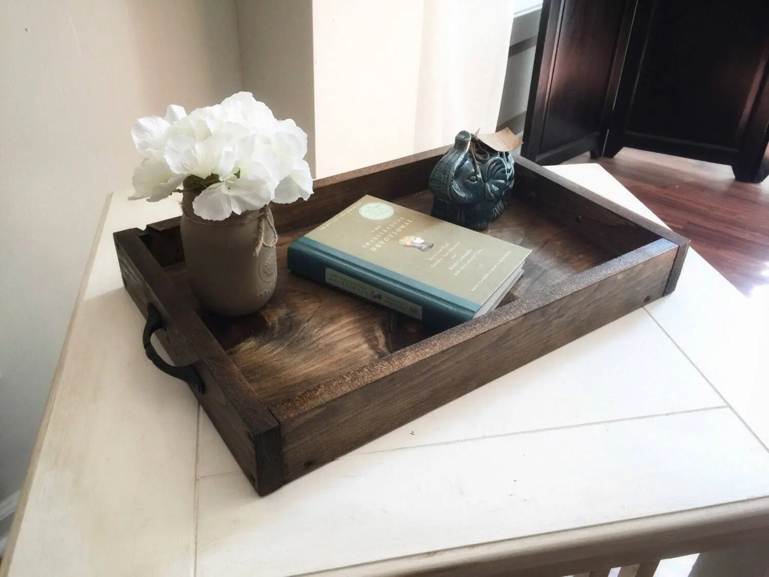 Best Rustic Wooden Ottoman Tray Decorative Tray Coffee Table Etsy This Month