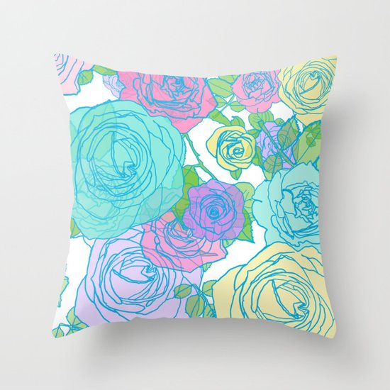 Best Pop Roses In Bright Preppy Colors Throw Pillow By Raylie This Month