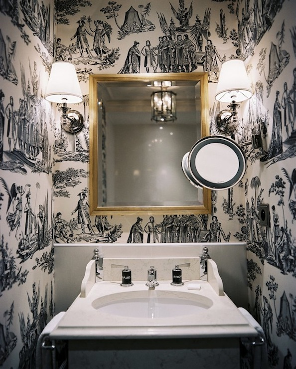 Best Black And White Toile Wallpaper Transitional Bathroom This Month