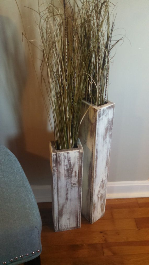 Best Set Of Two Rustic Wood Floor Vases 24 And 18 Wedding This Month