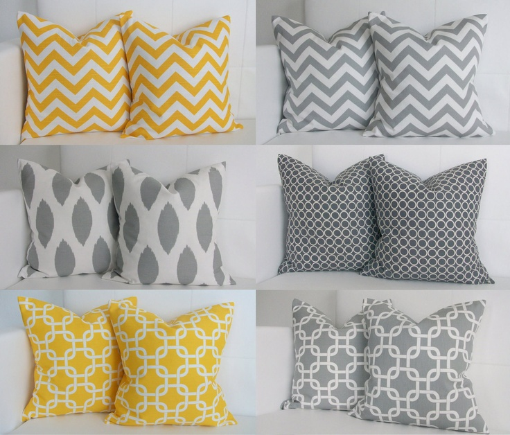 Best Ahhhh Nice Six Yellow And Gray Pillows Decorative This Month
