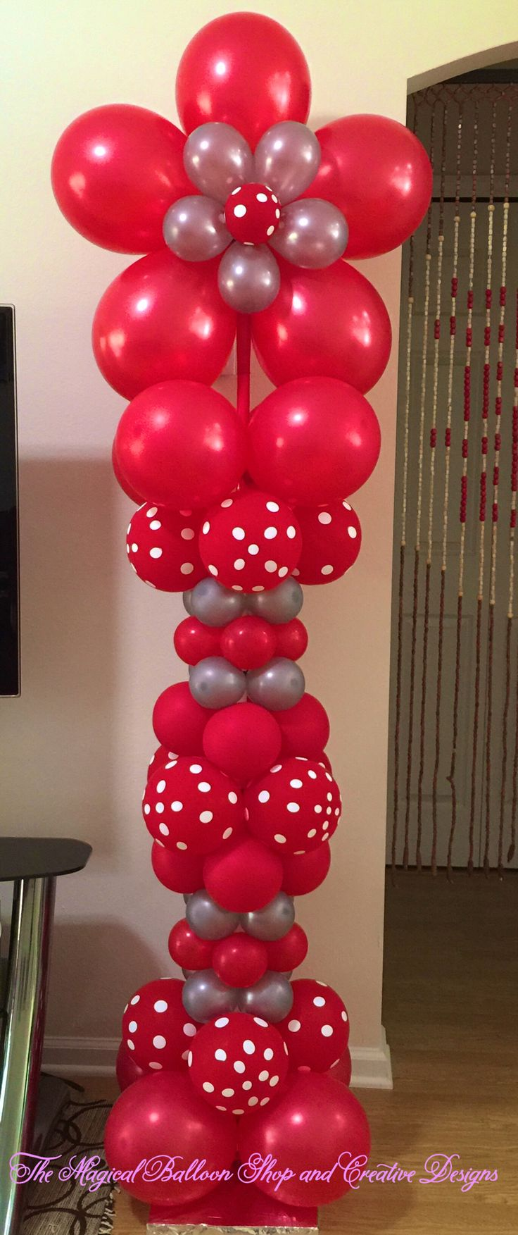 Best Red Polka Dot Balloon Column With Flower On Top Great For This Month
