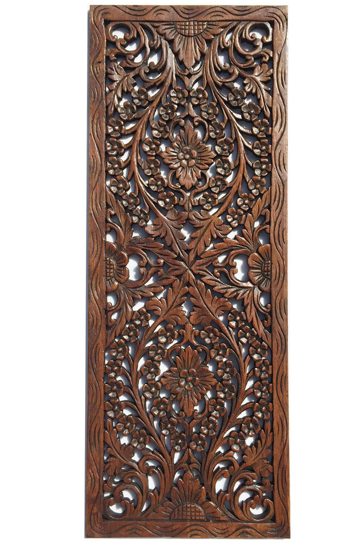 Best Floral Wood Carved Wall Panel Wall Hanging Asian Home This Month