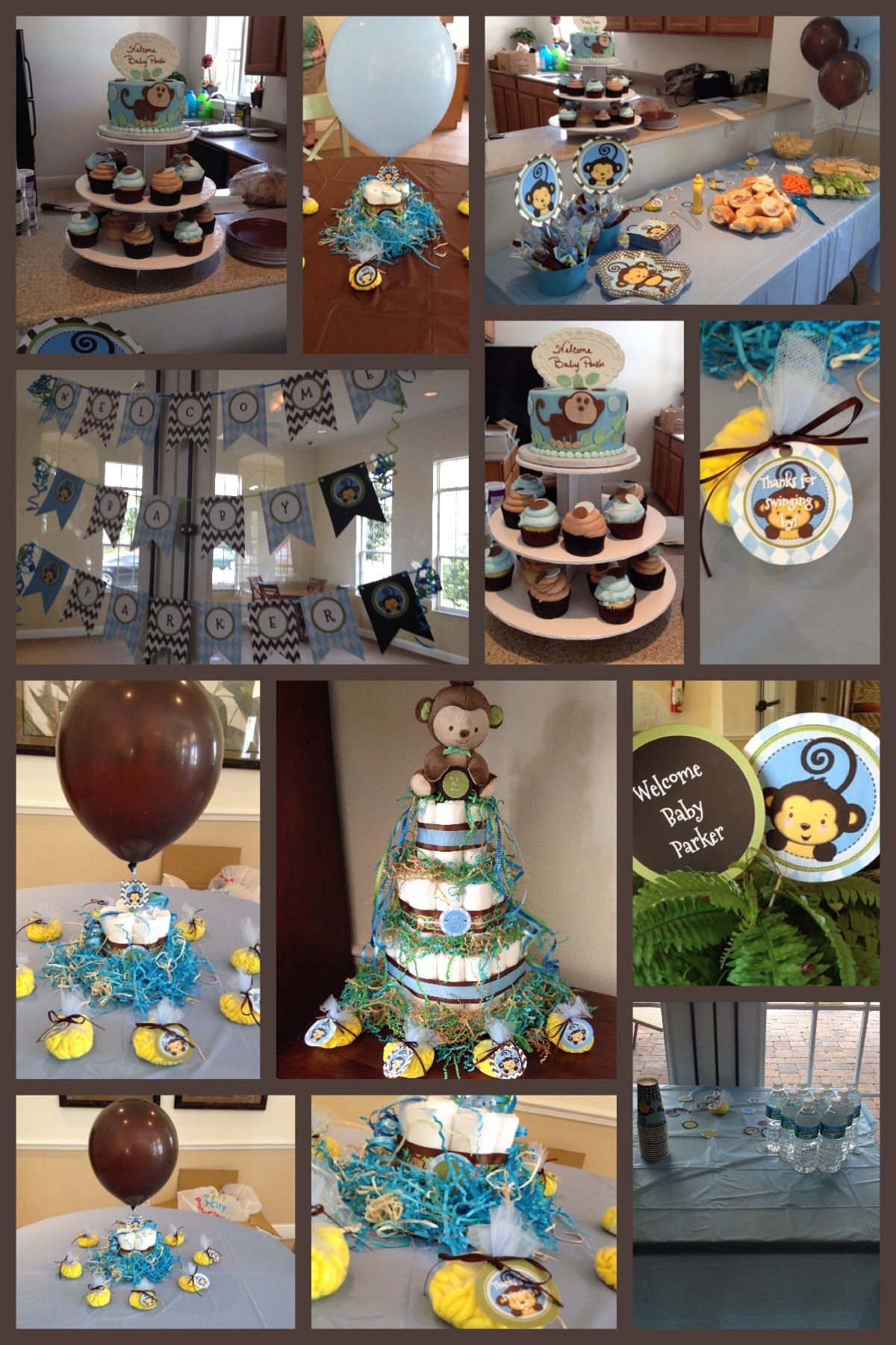 Best Monkey Boy Baby Shower Theme Blue Green Brown This Month
