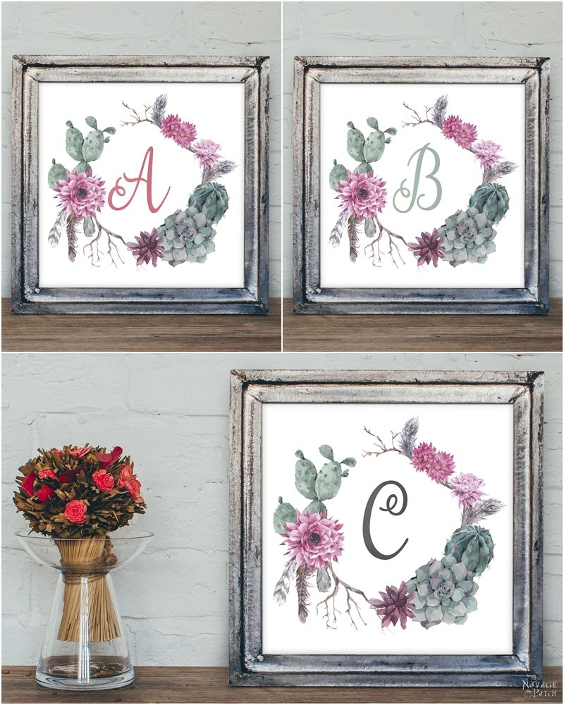 Best Free Printable Succulent Monogram Wall Art The Navage Patch This Month