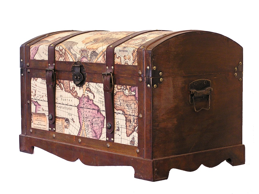 Best Victorian Old World Map Medium Wood Storage Trunk Wooden This Month