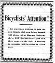 Display ad soliciting membership in a bicycle club. (Daily Free Press, March 22, 1900)