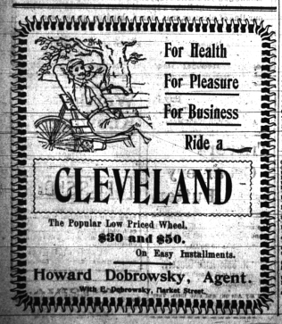 Display ad for Cleveland bicycles, Daily Free Press, April 11, 1900