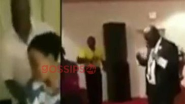 Pastor caught on camera heavily chopping church member from behind (video)