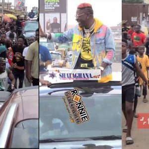 Shatta Wale Arrives In Kumasi Like A President, See How Kumercans Hailed Him On The Street With Love (Videos)