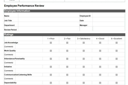 Performance Evaluation Templates For Managers Free Resume Examples