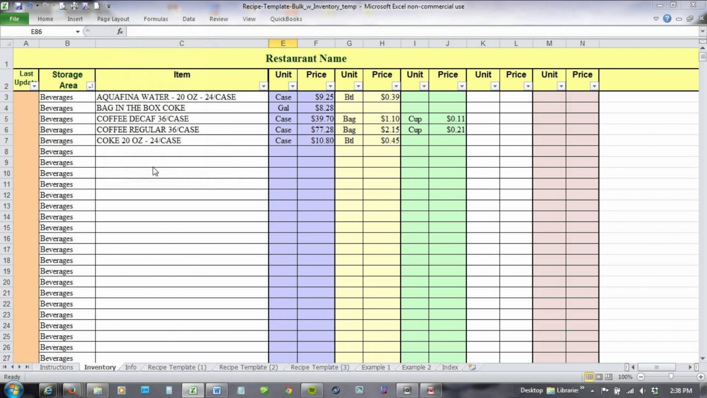 Recording Data On A Spreadsheet Worksheet