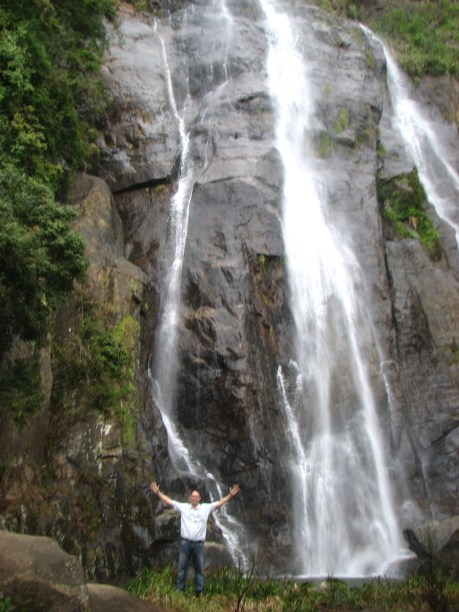 That's me in front of (apparently) the highest waterfall in Sri Lanka. It looks smaller than it is, honest.