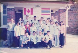 All the participants in 2000. Luck and I are second and third from the right in the middle row.