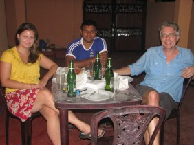 My new friends Annie and Clarence and (now) old friend Hans enjoying some kottu.