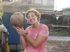This coconut is actually bigger than MY head. Now that's one huge coconut.