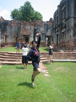 We took a break from the New Year festivities to check out the ruins in Lop Buri. Ja's cousin poses for a photo.