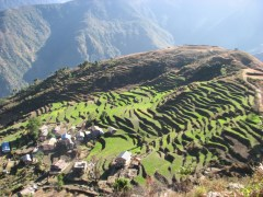 This photo was taken the morning of the second day of the hike of the farming village below.