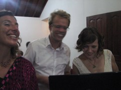 Shaun got to attend the wedding after all even if it was only via Skype. Here the bride and groom are checking out the Sri Lankan cricket attire he was sporting for the occasion.