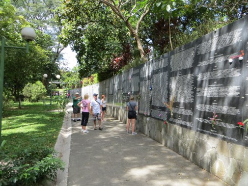 This ever-growing memorial wall in San Salvador list the estimated 70,000 civil war victims.
