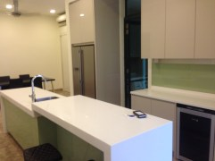 The kitchen even has a wine fridge
