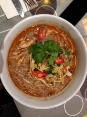 Food is a highlight of the market. This chicken curry laksa was delicious!