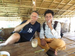 Enjoying a cheroot with our hiking guide CoCo.