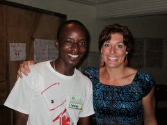 This is a picture of George and I in 2010 at his program completion ceremony. Notice he's wearing a Canada shirt and I'm wearing an African dress.