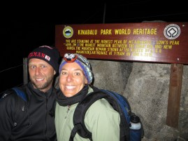 After starting our Day 2 climb at 3 a.m. we reached the 4,029 metre summit at about 5:30 a.m. First time we needed coats, toques and mitts in Malaysia. It felt good. (No idea why you'd want to get naked up here? It was right around 0.)