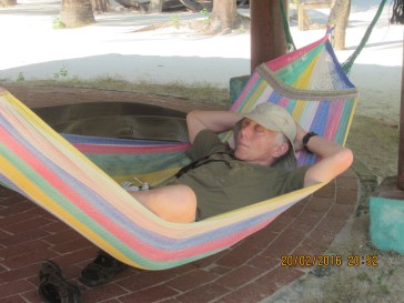 Rob enjoyed the hammock at our beach resort. He may have slept the night in this one.