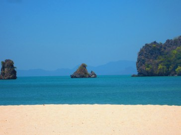 A Langkawi beach taken moments before we had to leave due to a roaring forest fire.