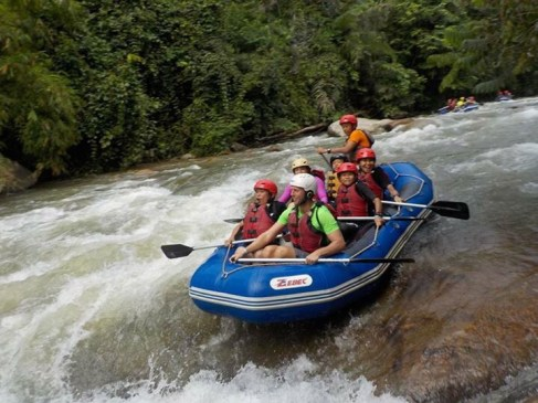 First time whitewater rafting and caving - It was an adventure for everyone. The look on Neung's face says it all!