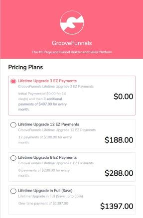 Groove Pricing structure for lifetime plan