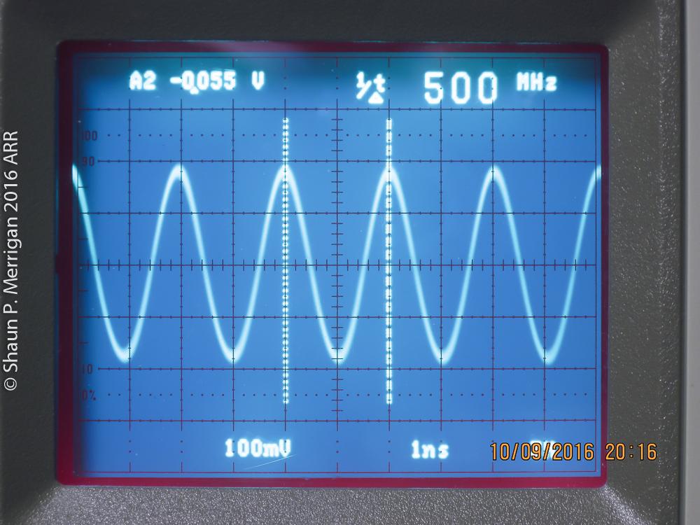 500 MHZ Sine wave input on a Tektronix 2467b