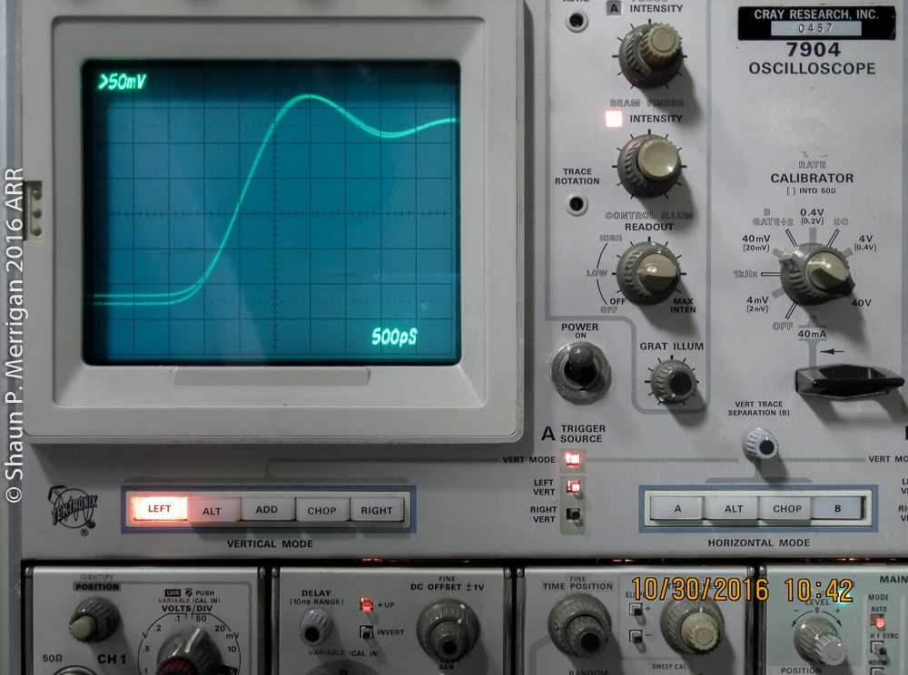 Very fast rise time pulse on a Tektronix 7904 with a 7A24 vertical module